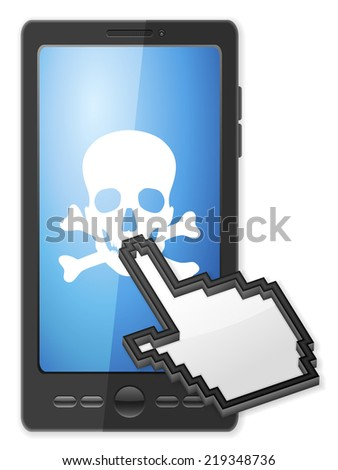 Phone, cursor and danger symbol on a white background. - stock photo