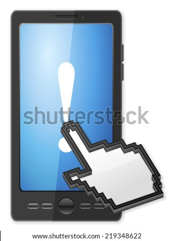 Phone, cursor and exclamation mark symbol on a white background. - stock photo