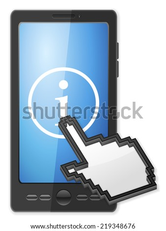 Phone, cursor and info symbol on a white background. - stock photo