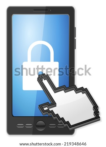 Phone, cursor and padlock symbol on a white background. - stock photo