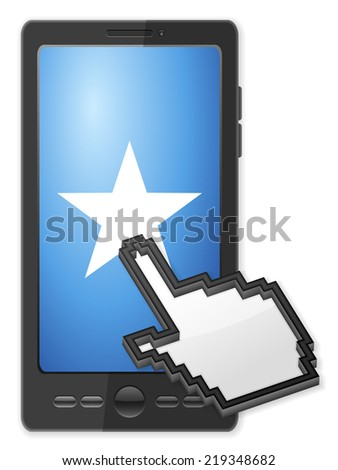 Phone, cursor and star symbol on a white background. - stock photo