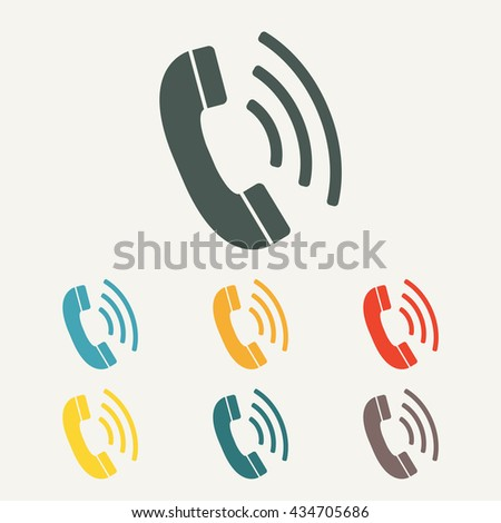 Phone icon. Call symbol in flat style.  - stock photo