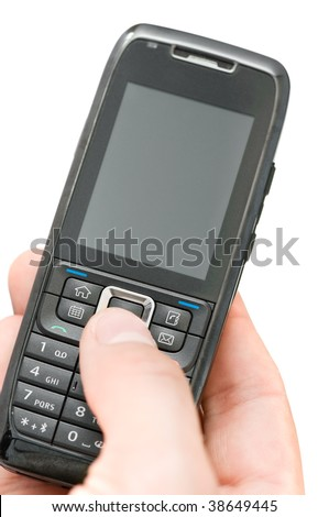 phone in hand isolated on white