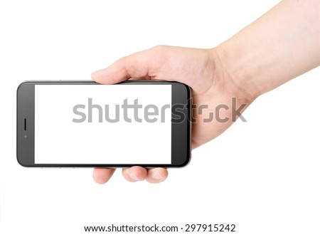 Phone in hand on white background, isolated - stock photo