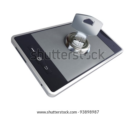 phone key close on a white background
