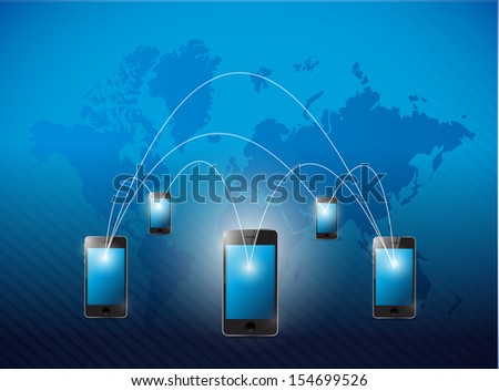 phone network and world business background. illustration design - stock photo