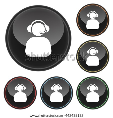 Phone Operator Icon Glossy Button Icon Set in With Various Color Highlights.  Raster Version - stock photo