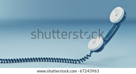 Phone reciever on blue isolated background. 3d - stock photo