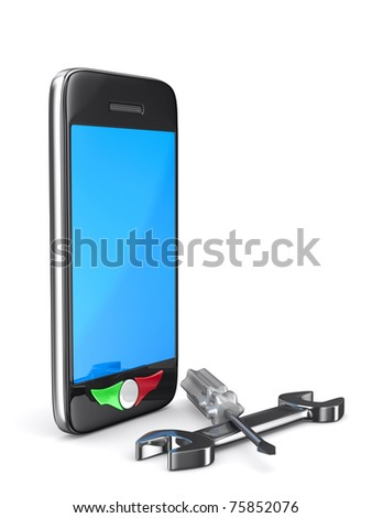 Phone repair on white background. Isolated 3D image - stock photo