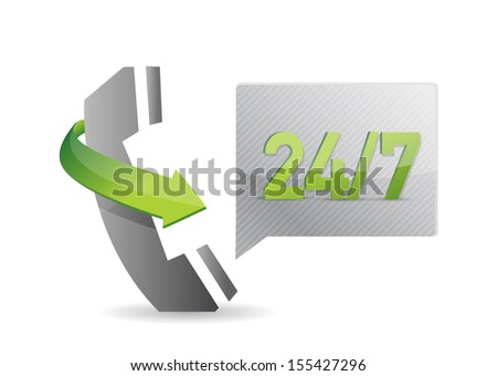 phone 24 7 service illustration over a white background - stock photo