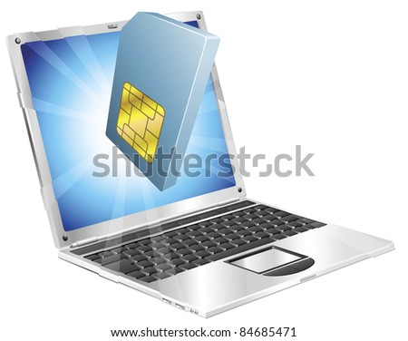 Phone SIM card icon coming out of laptop screen concept - stock photo