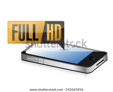 phone with Full HD. High definition button. illustration design - stock photo