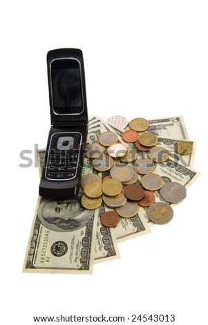 Phone with money on white background