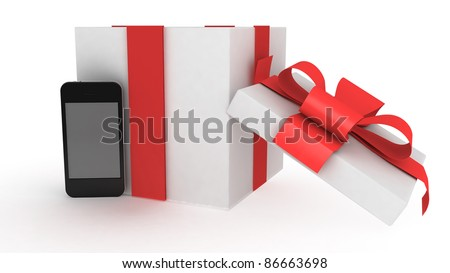 phone  with present on white back  ground - stock photo