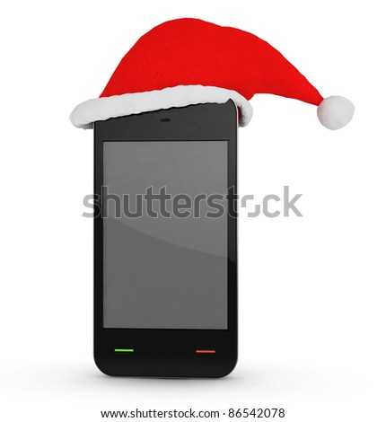 phone with xmas hat on white background - stock photo