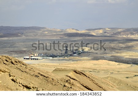 Phosphates Chemicals plant near Big Crater in Negev desert. - stock photo