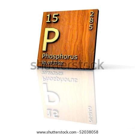 Phosphorus form Periodic Table of Elements - wood board - stock photo