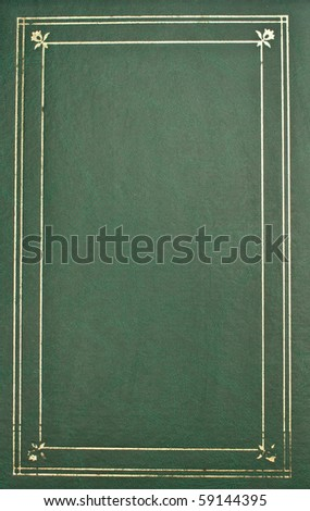 Photo album cover-green leather with gold trim - stock photo