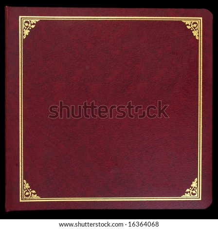 Photo album cover-red leather with gold trim - stock photo