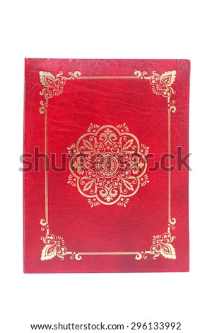 photo album decorated with golden ornament on the red background - stock photo