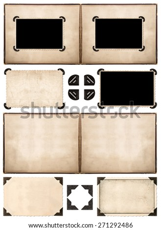 Photo album pages with retro style frames and corners isolated on white background. Scrapbook objects - stock photo