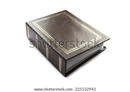 Photo album with brown leather cover isolated over white - stock photo