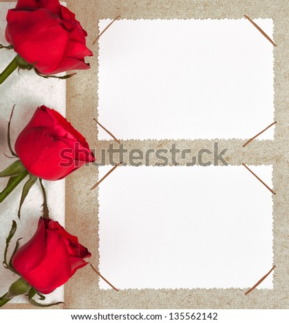 photo album with frames and roses - stock photo