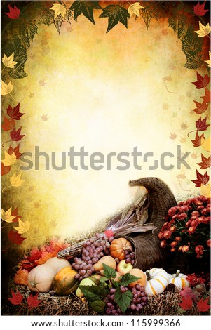 Photo based illustration of an autumn background with a Cornucopia or Horn of Plenty on bales of straw with fresh vegetables and fruit spilling out. Empty copy space for text. - stock photo