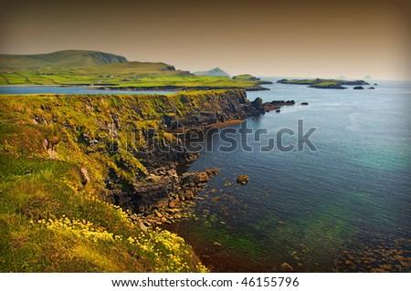 photo beautiful breathtaking vibrant  irish scenic coastal seascape - stock photo