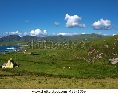 photo beautiful breathtaking vibrant  irish scenic coastal seascape - stock photo