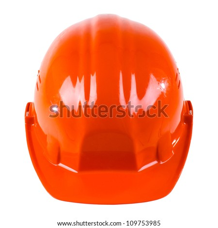 photo  beauty red  safety cap, close up on white background, from one side
