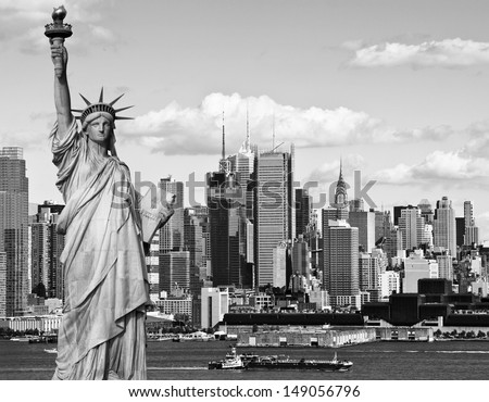 photo black and white statue of liberty ship midtown manhattan skyline and cityscape tourism concept new york city with statue liberty