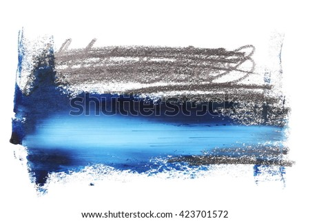 photo blue grunge brush strokes oil paint and sketch lead pencil isolated on white background - stock photo