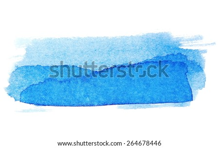 photo blue ink hand painted brush strokes isolated on white background, grunge paper texture, (with clipping path) - stock photo