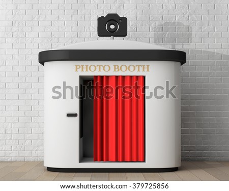 Photo Booth in front of brick wall - stock photo