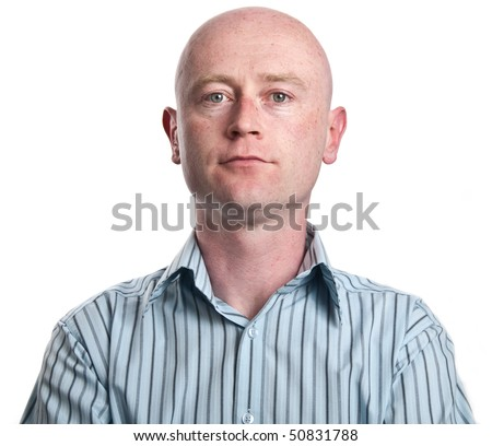 photo business man portrait in his 30's on white - stock photo