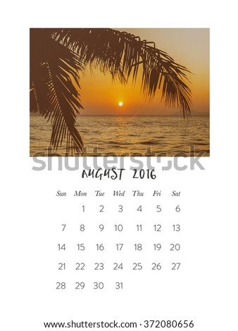 Photo calendar 2016, august, palm tree and sunset on the sea - stock photo