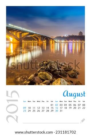 Photo calendar with minimalist cityscape and bridge 2015. August - stock photo
