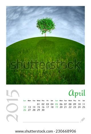 Photo calendar with minimalist landscape 2015. April - stock photo