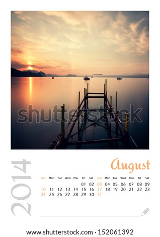 Photo calendar with minimalist landscape 2014. August.  - stock photo