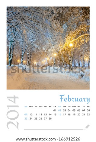 Photo calendar with minimalist landscape 2014. February. Version 3 - stock photo