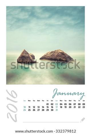 Photo calendar with minimalist landscape 2016. January. - stock photo