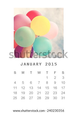 Photo calendar with retro image style 2015, January