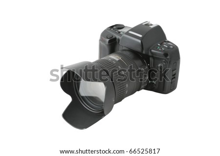 Photo camera isolated on white background with clipping path included