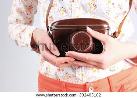 Photo camera or Old photo camera, Photo shooting - stock photo