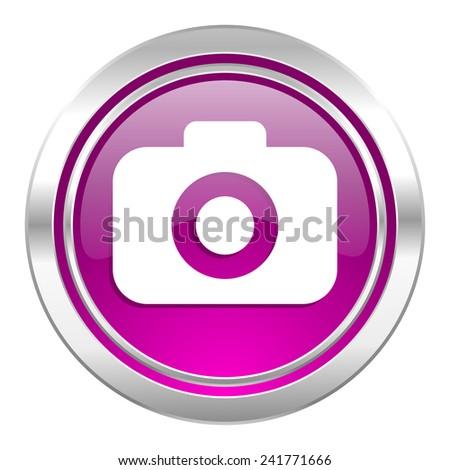 photo camera violet icon photography sign  - stock photo