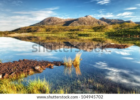 Photo capture of a breathtaking natural  landscape of Connemara mountains in Ireland. - stock photo
