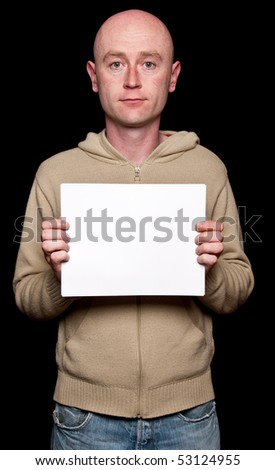 photo capture of male with white copyspace on black - stock photo