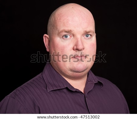 photo close up picture portrait of an overweight male - stock photo