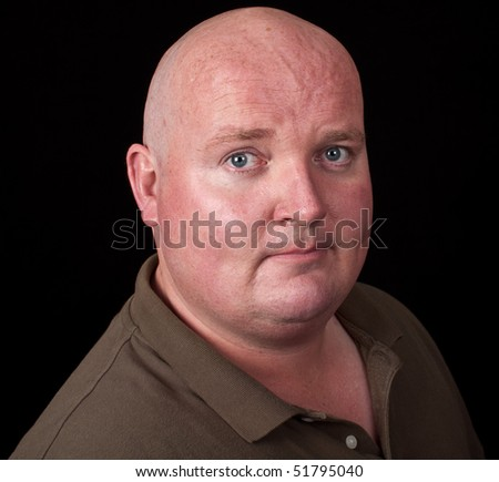 photo close up portrait casual male overweight - stock photo